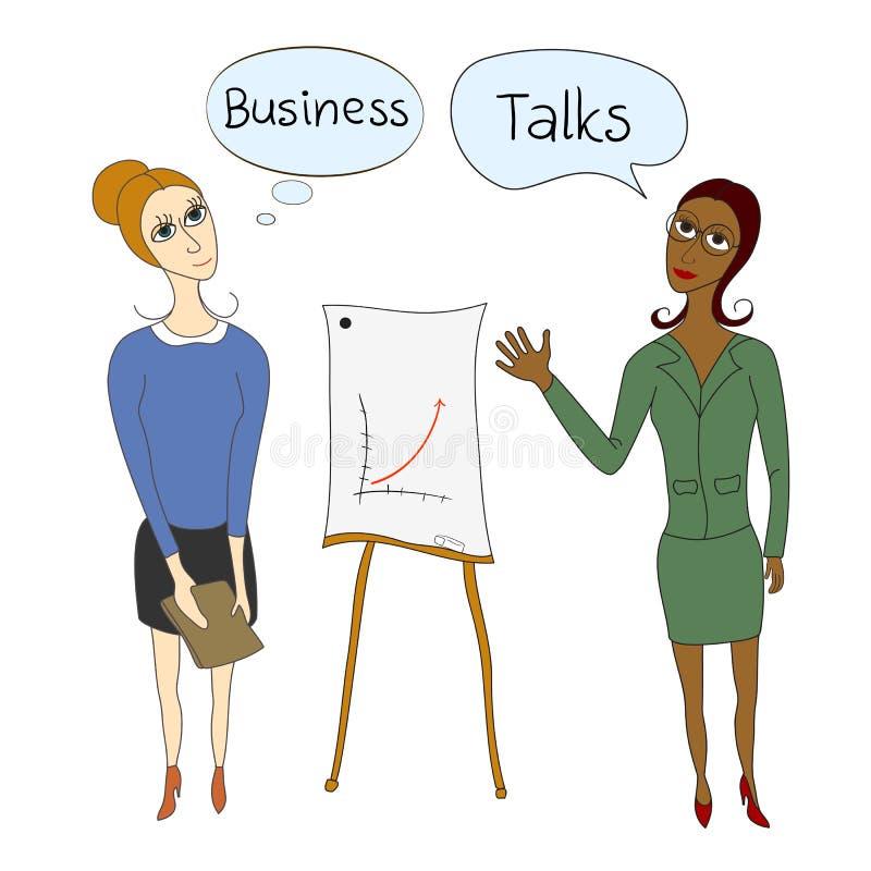 Negociaciones del negocio, mujeres de negocios en negocio stock de ilustración