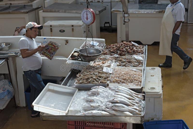 Negociante no mercado de peixes mercado do mar de mariscos no viejo velho do casco da cidade da Cidade do Panamá fotos de stock royalty free