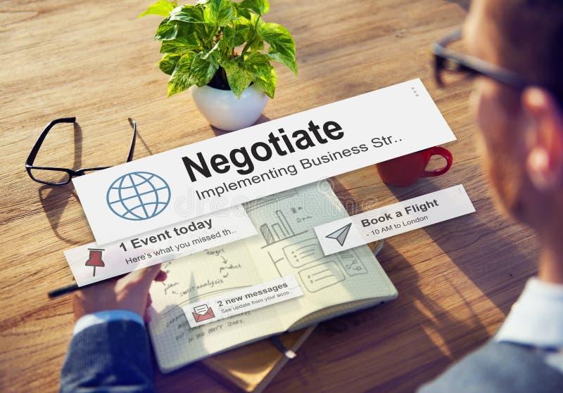 Negocie el compromiso del acuerdo reconcilian concepto imágenes de archivo libres de regalías