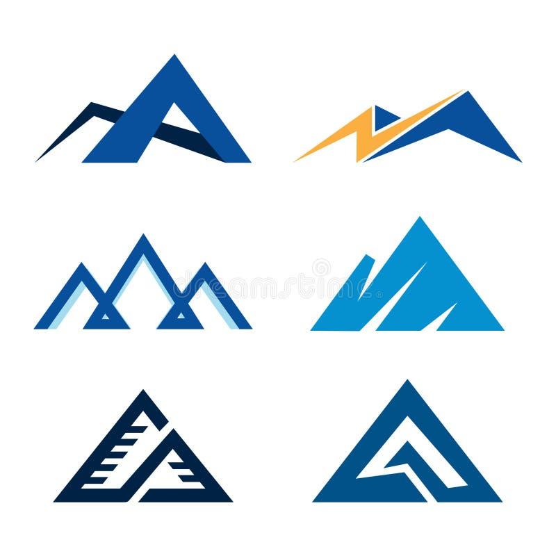 Negocio abstracto simple Logo Symbol Set de la montaña ilustración del vector