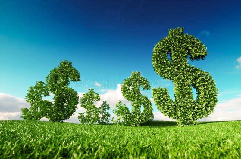 Negocio amistoso de Eco, beneficio verde, dinero creciente y sustaina stock de ilustración