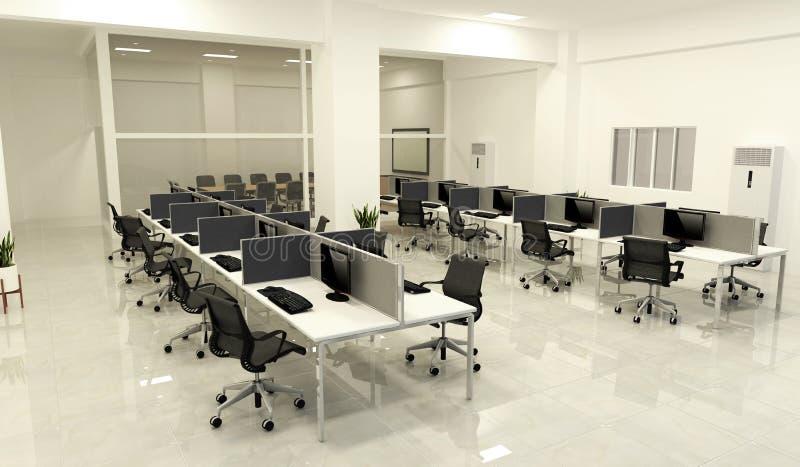 Negocio ascendente falso de la oficina - sitio y mesa de reuniones grandes hermosos, estilo moderno de la oficina del sitio repre ilustración del vector