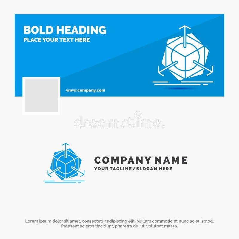 Negocio azul Logo Template para 3d, cambio, correcci?n, modificaci?n, objeto r Bandera del Web del vector ilustración del vector