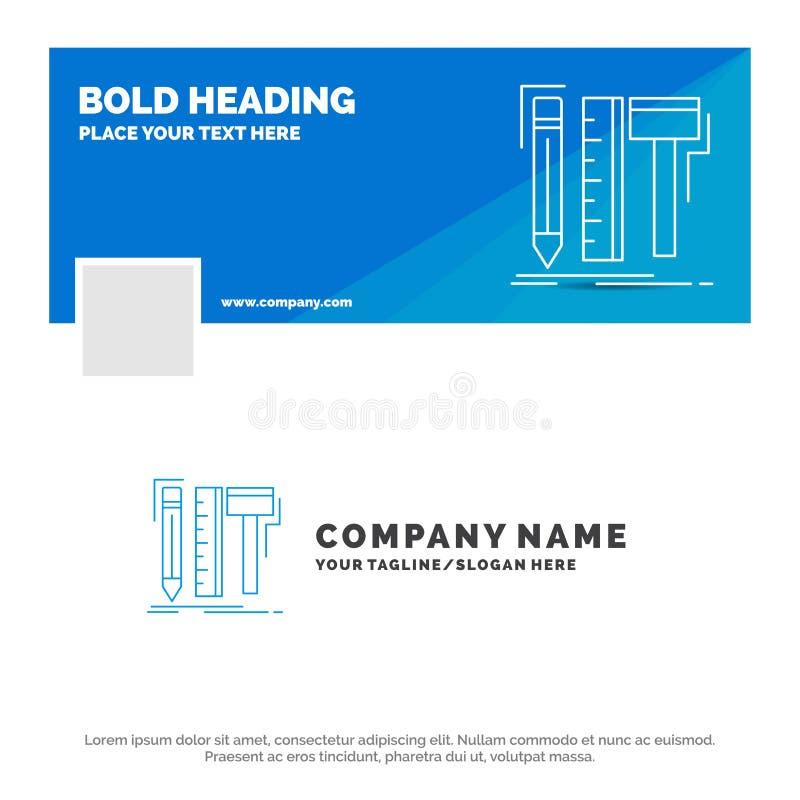 Negocio azul Logo Template para el diseño, diseñador, digital, herramientas, lápiz r Bandera del Web del vector libre illustration