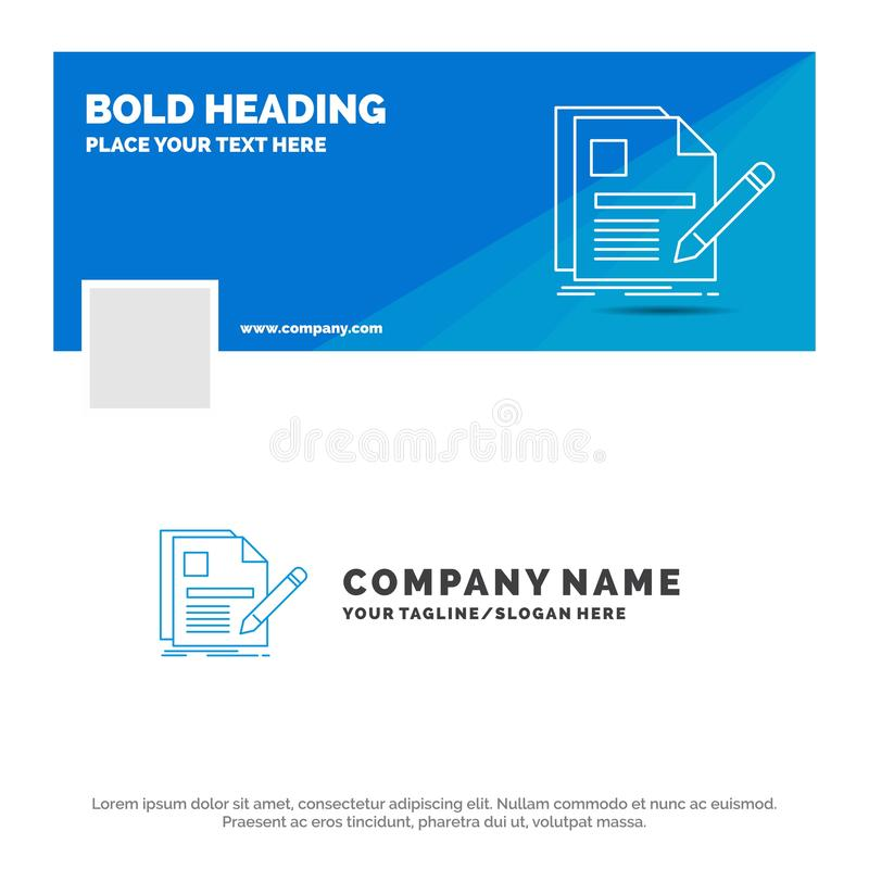 Negocio azul Logo Template para el documento, fichero, p?gina, pluma, curriculum vitae r r ilustración del vector
