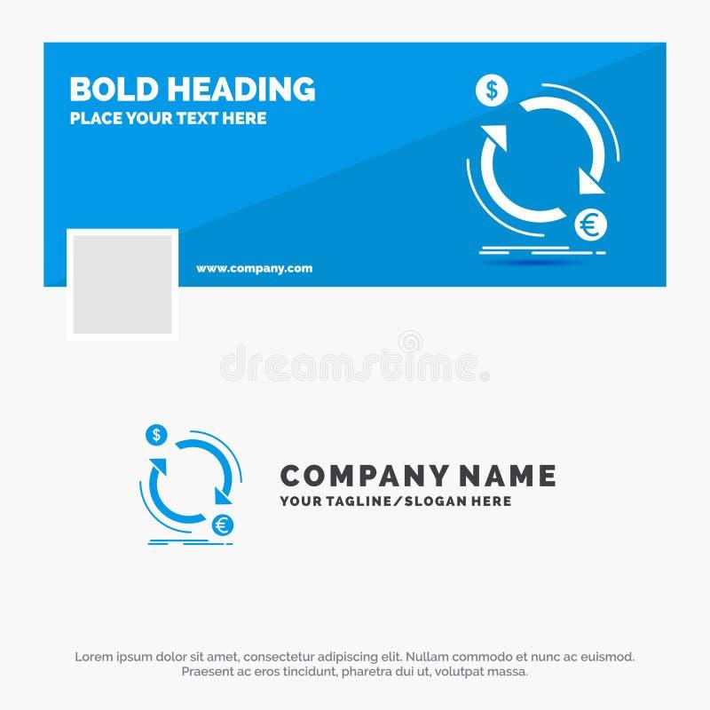 Negocio azul Logo Template para el intercambio, moneda, finanzas, dinero, convertido r Bandera del Web del vector ilustración del vector