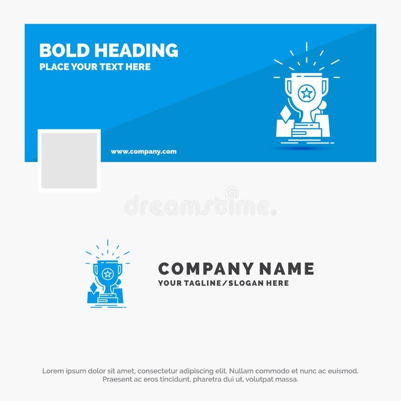 Negocio azul Logo Template para el logro, premio, taza, premio, trofeo r Bandera del Web del vector stock de ilustración