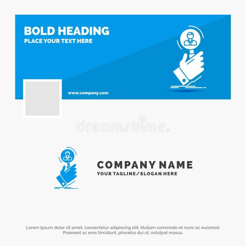 Negocio azul Logo Template para el reclutamiento, búsqueda, hallazgo, recurso humano, gente r Web del vector ilustración del vector