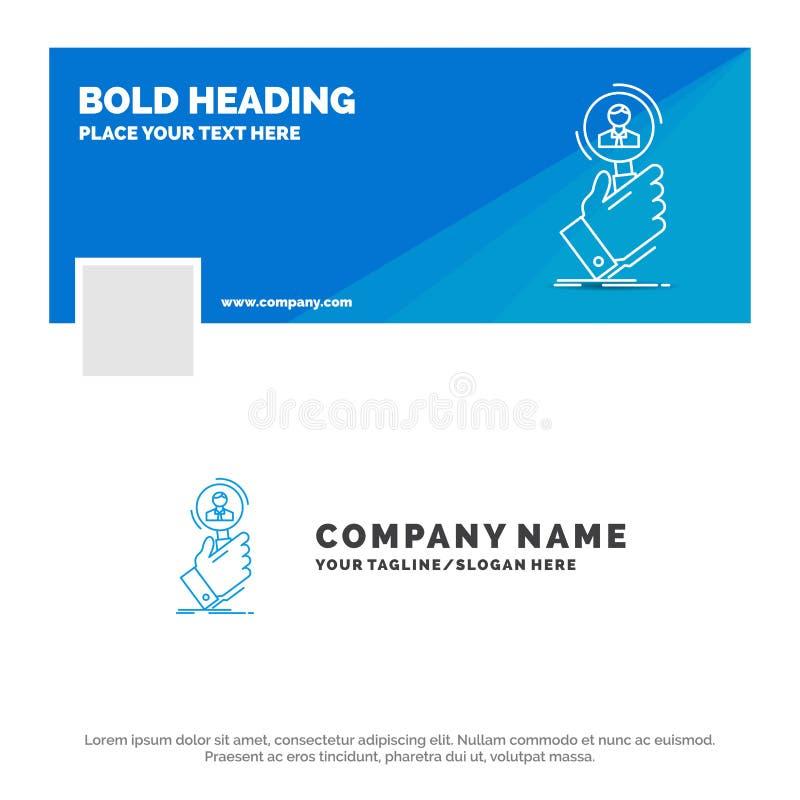 Negocio azul Logo Template para el reclutamiento, b?squeda, hallazgo, recurso humano, gente r Web del vector stock de ilustración