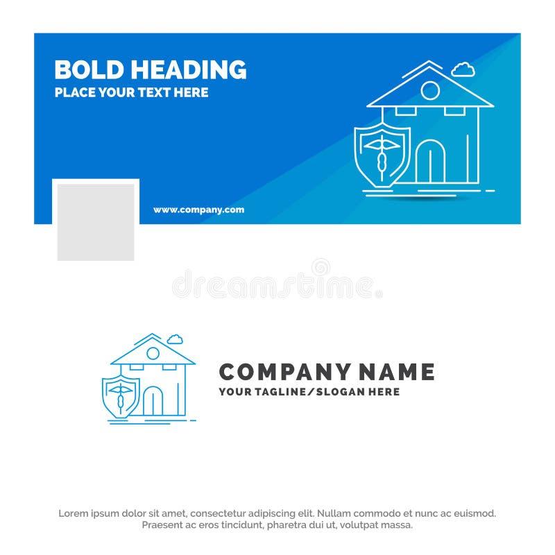 Negocio azul Logo Template para el seguro, hogar, casa, muerte, protección r Bandera del Web del vector stock de ilustración