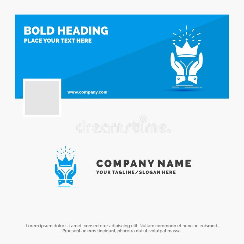 Negocio azul Logo Template para la corona, honor, rey, mercado, real r r stock de ilustración
