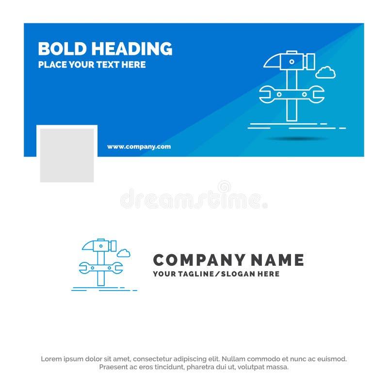 Negocio azul Logo Template para la estructura, ingenier?a, martillo, reparaci?n, servicio r Bandera del Web del vector stock de ilustración