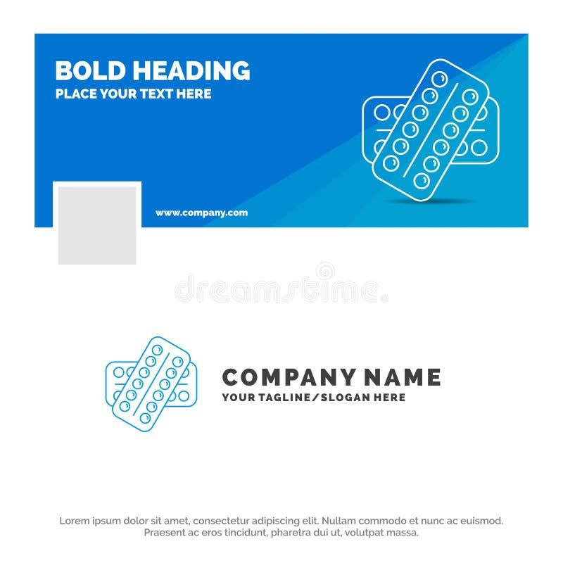 Negocio azul Logo Template para la medicina, p?ldora, drogas, tableta, paciente r Bandera del Web del vector imágenes de archivo libres de regalías