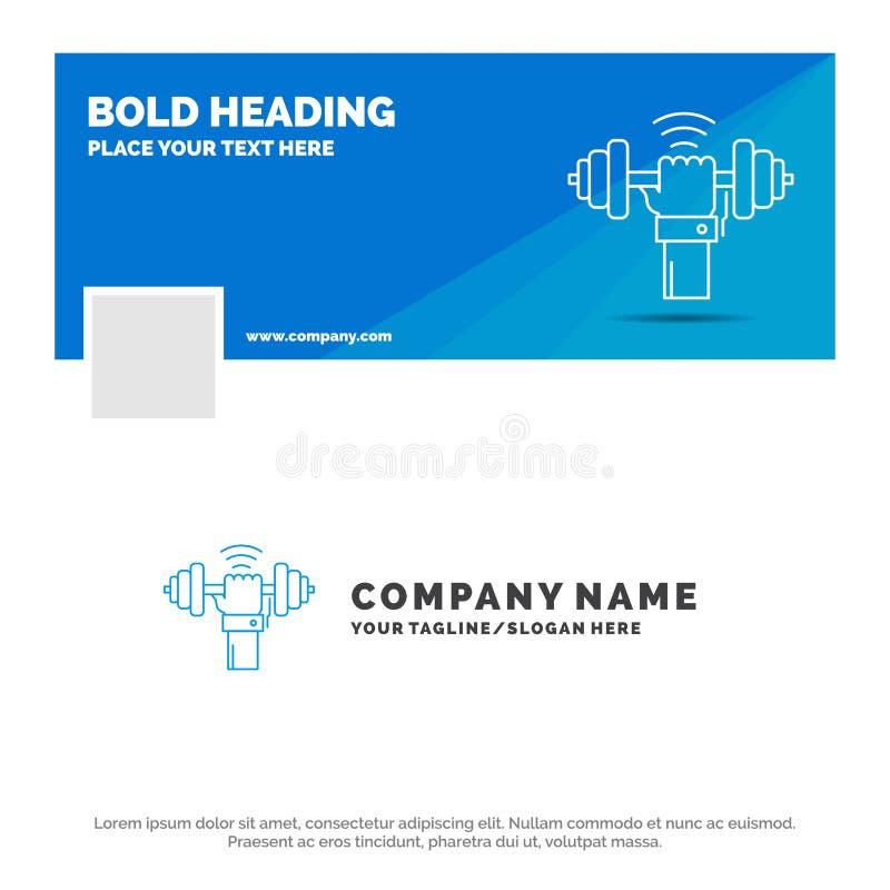 Negocio azul Logo Template para la pesa de gimnasia, aumento, levantando, poder, deporte r Bandera del Web del vector stock de ilustración