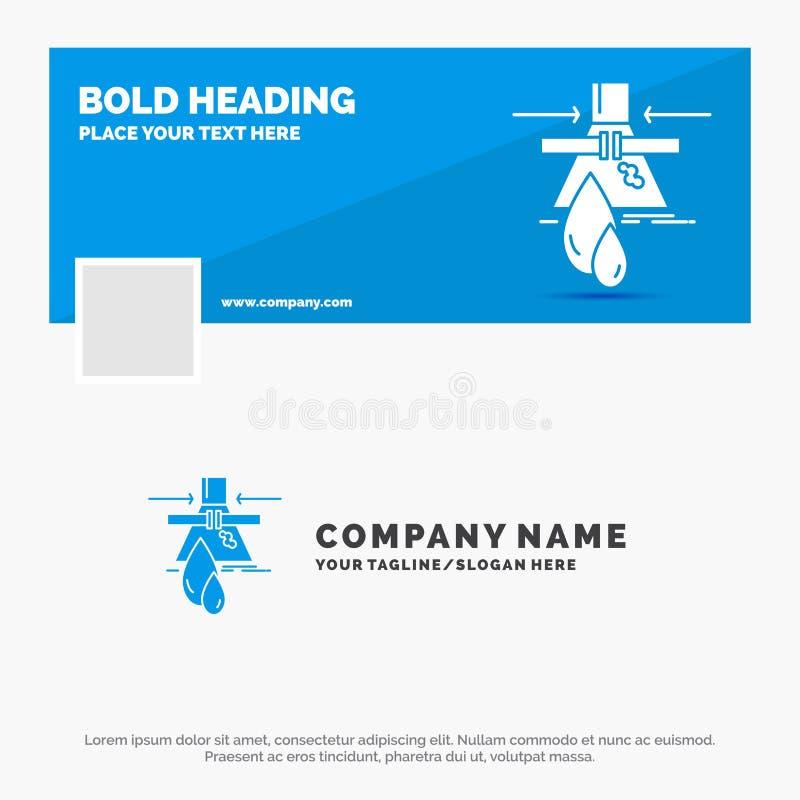 Negocio azul Logo Template para la sustancia qu?mica, escape, detecci?n, f?brica, contaminaci?n r Bandera del Web del vector stock de ilustración