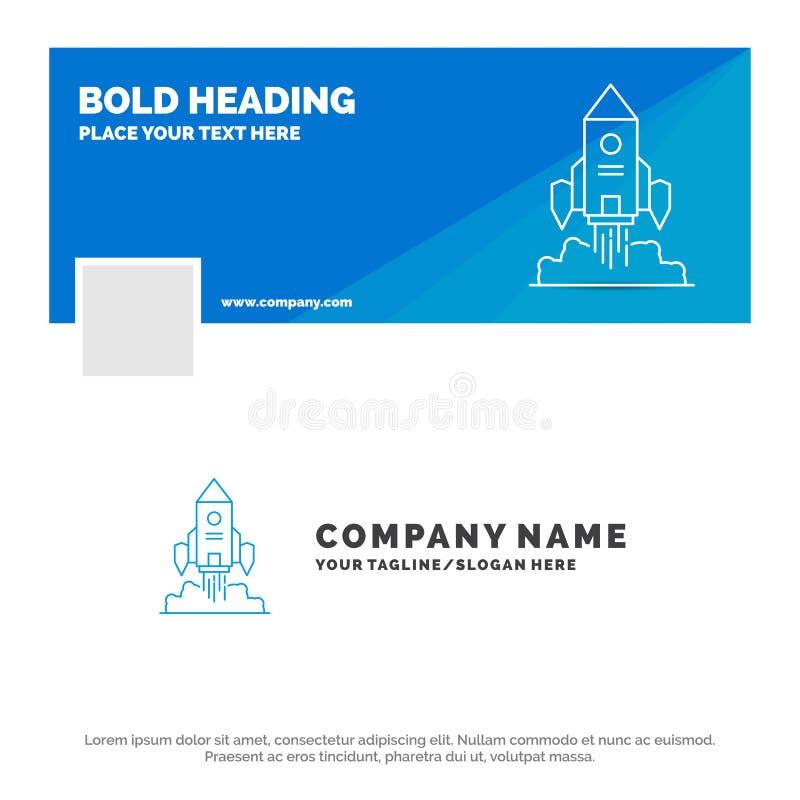 Negocio azul Logo Template para Rocket, nave espacial, inicio, lanzamiento, juego r Bandera del Web del vector ilustración del vector
