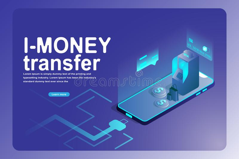Negocio bancario móvil de la transferencia monetaria y página de aterrizaje financiera 3d isométrico del teléfono elegante, máqui imágenes de archivo libres de regalías