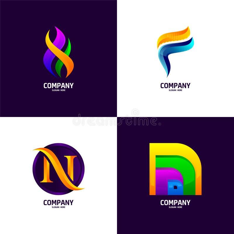 Negocio, colección abstracta financiera, de comercialización del logotipo stock de ilustración