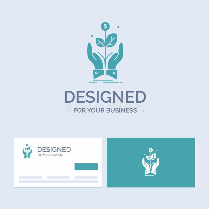 negocio, compañía, crecimiento, planta, negocio Logo Glyph Icon Symbol de la subida para su negocio Tarjetas de visita de la turq ilustración del vector