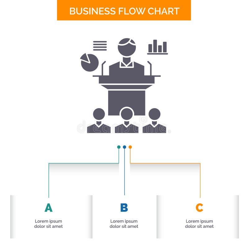 Negocio, conferencia, convenio, presentación, diseño del organigrama del negocio del seminario con 3 pasos Icono del Glyph para l ilustración del vector