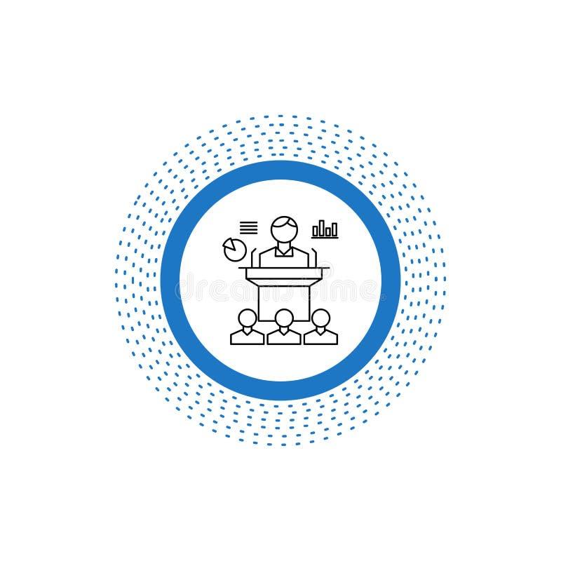 Negocio, conferencia, convenio, presentación, línea icono del seminario Ejemplo aislado vector stock de ilustración