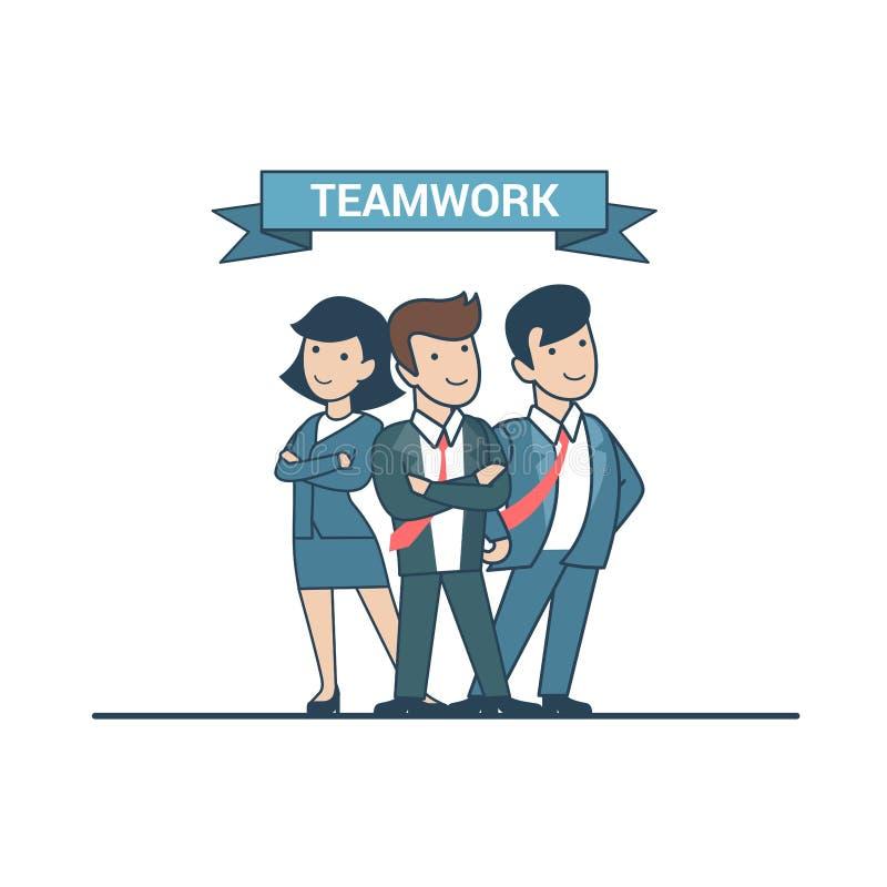 Negocio confiado plano linear del vector de los líderes de equipo stock de ilustración