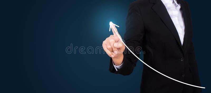 Negocio conmovedor c del crecimiento o del aumento del gráfico de punto de la mano del negocio fotos de archivo libres de regalías