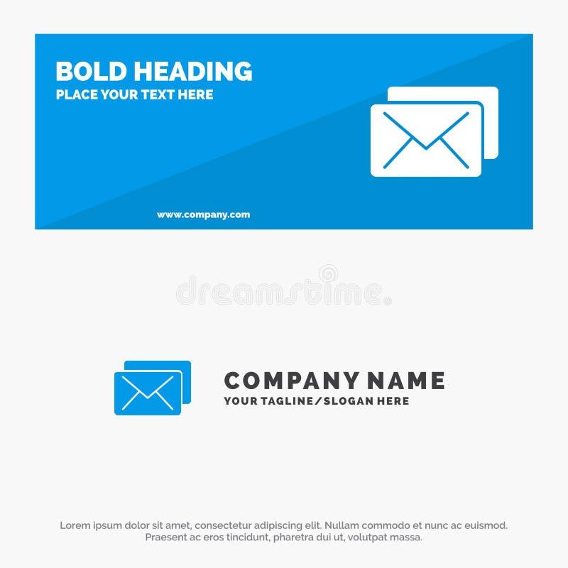 Negocio, correo, bandera sólida y negocio Logo Template de la página web del icono del mensaje stock de ilustración