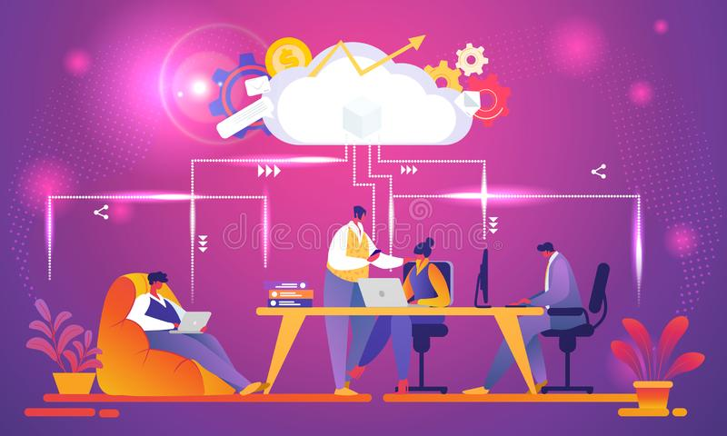 Negocio creativo Team Working Using Cloud System libre illustration