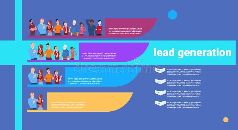 Negocio de etapas de los pasos de la generación de la ventaja de la gente infographic concepto colorido del diagrama sobre el esp ilustración del vector