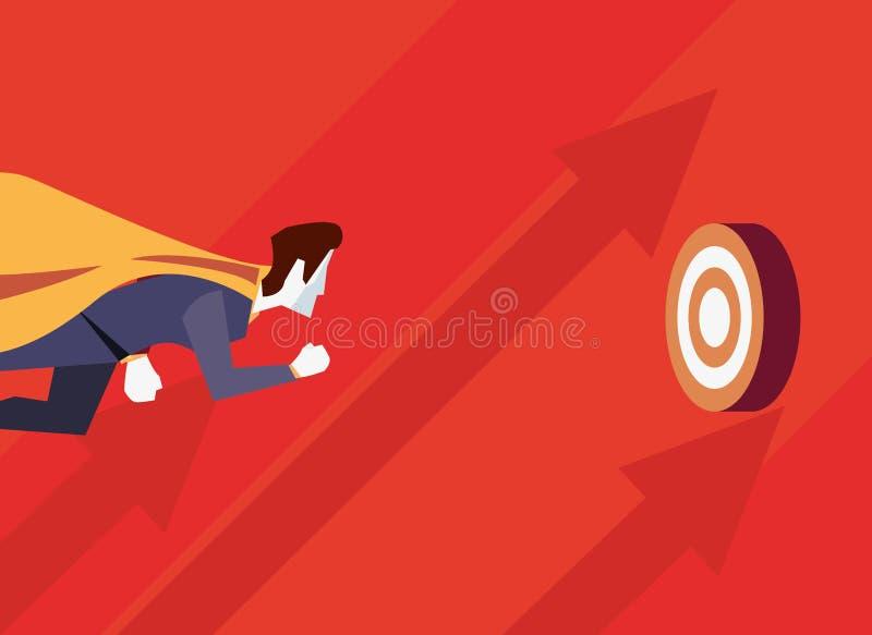 Negocio de la blanco del vuelo del carácter del héroe del hombre de negocios stock de ilustración