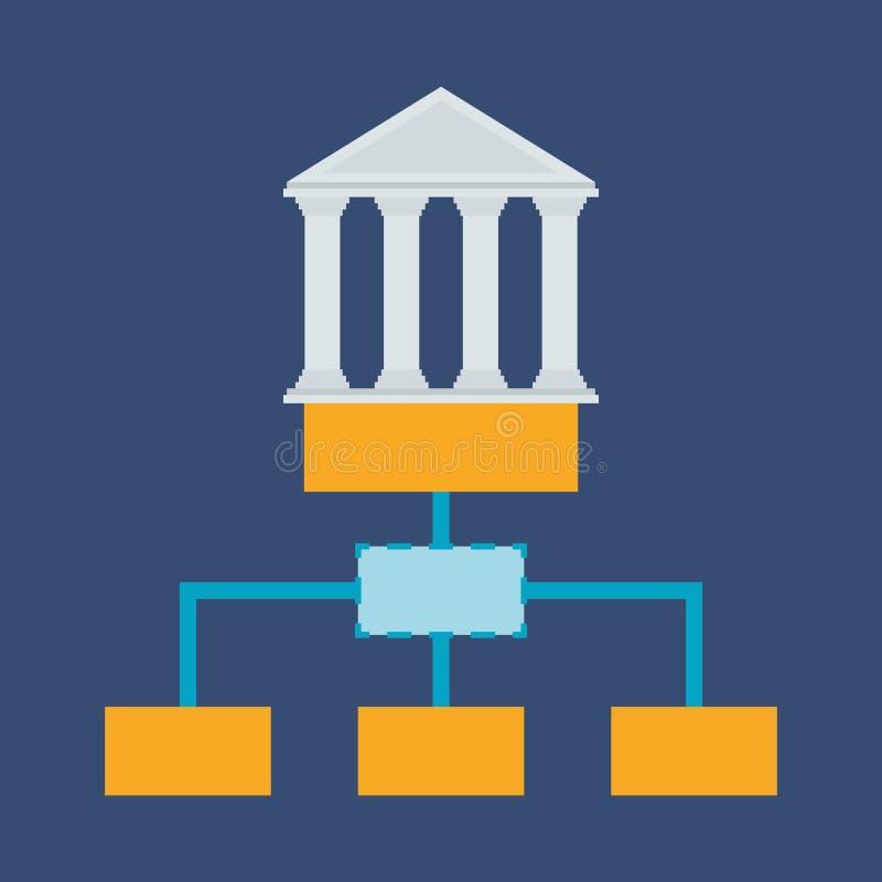 negocio de la estructura de organización del edificio de banco stock de ilustración