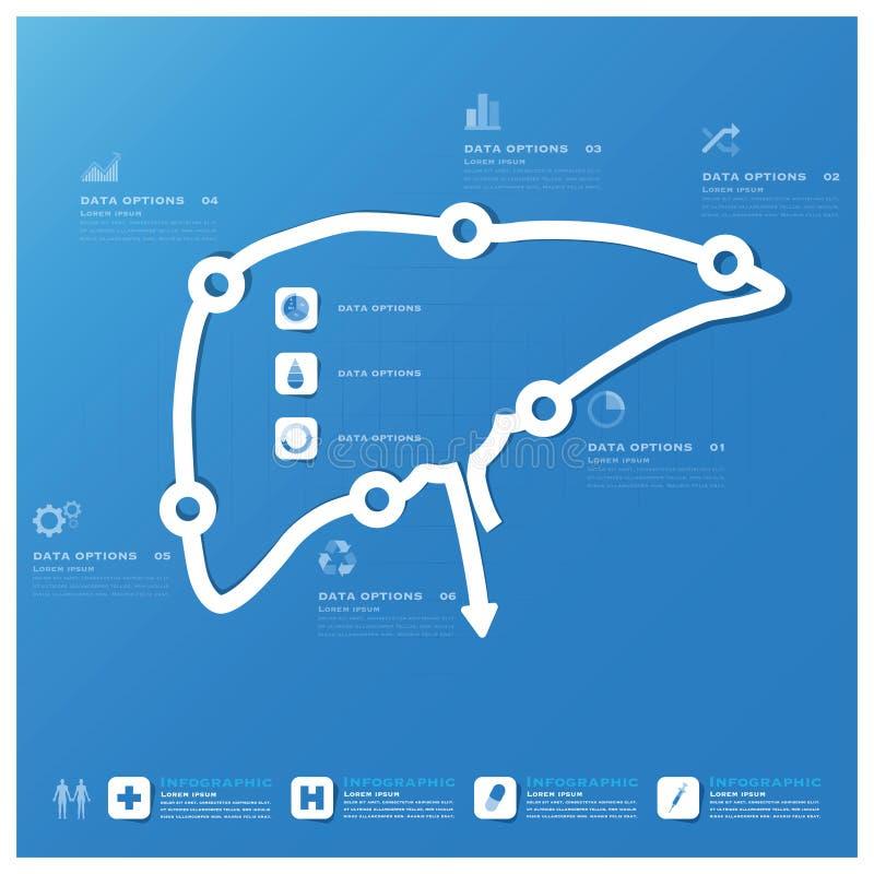 Negocio de la forma del hígado y plantilla médica del diseño de Infographic ilustración del vector