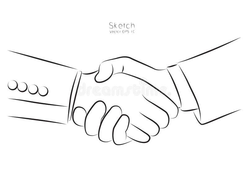 Negocio de la mano de la sacudida del drenaje, vector ilustración del vector