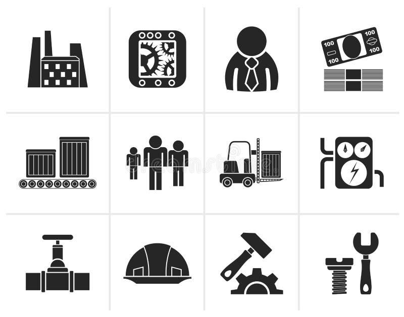 Negocio de la silueta, fábrica e iconos del molino stock de ilustración