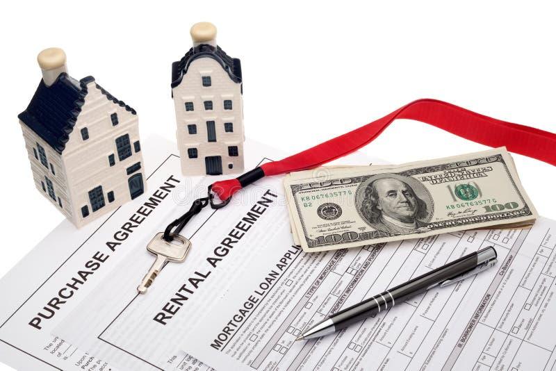 Negocio de las propiedades inmobiliarias y planificación financiera foto de archivo libre de regalías