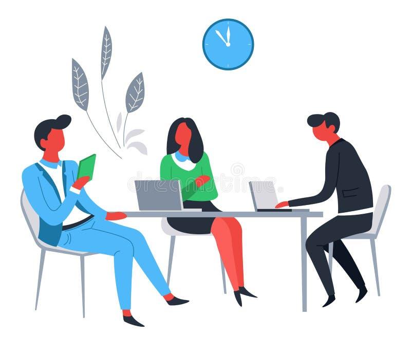 Negocio de los oficinistas y hombres de negocios y empresaria del trabajo en equipo con los ordenadores portátiles libre illustration