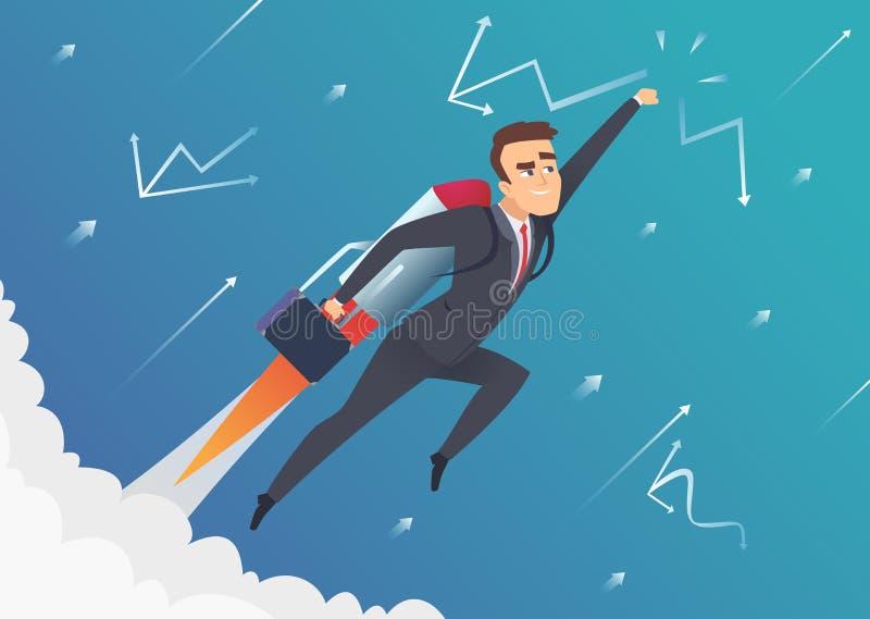 Negocio del éxito El hombre de negocios va encendido al vuelo de la luna en la mejora de lanzamiento del cohete de la velocidad q stock de ilustración