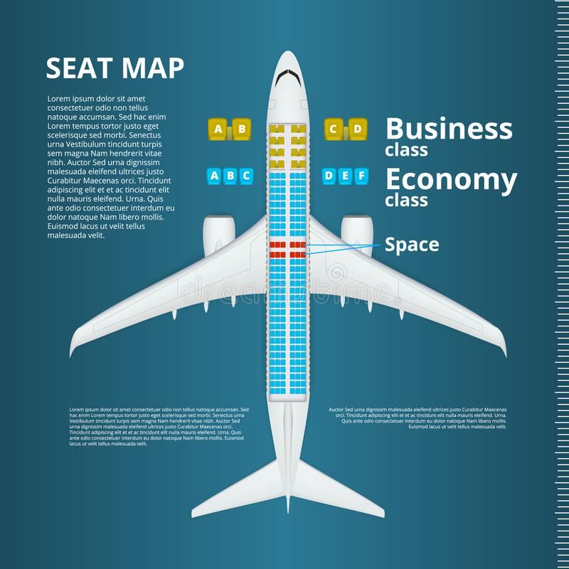 Negocio del aeroplano o plantilla del mapa de Seat de la clase de economía libre illustration