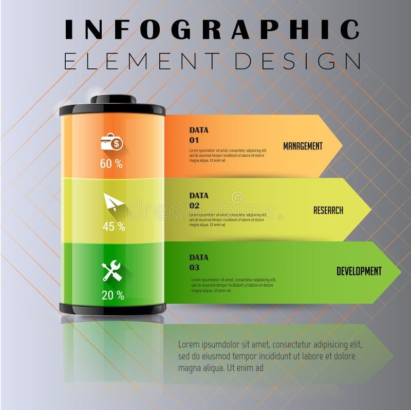 Negocio del cargador de batería Plantilla para las opciones infographic Puede b ilustración del vector