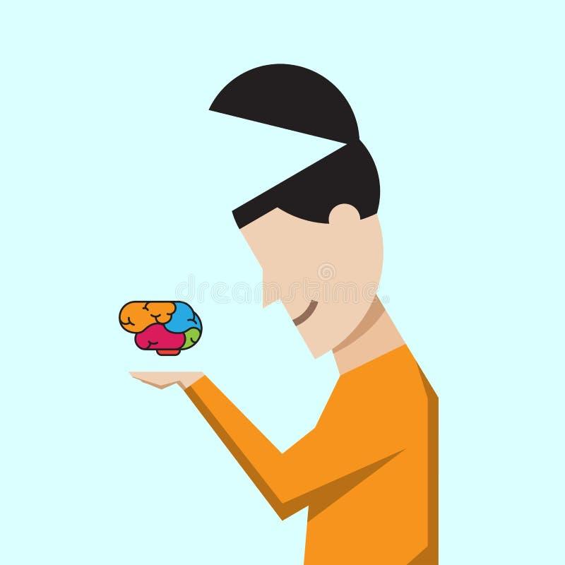 Negocio del cerebro de la idea y diseño creativos del vector del concepto de la educación ilustración del vector
