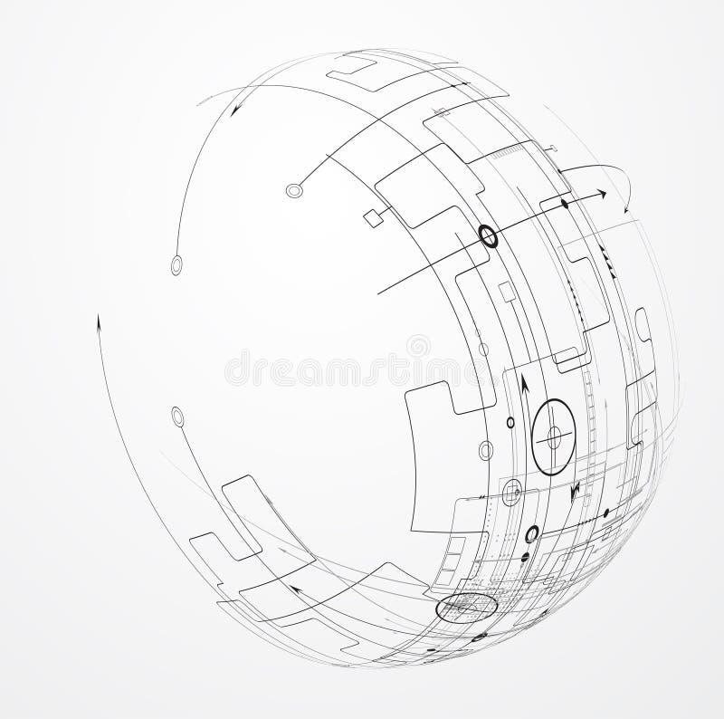 Negocio del fondo de la tecnología y dirección abstractos del desarrollo ilustración del vector