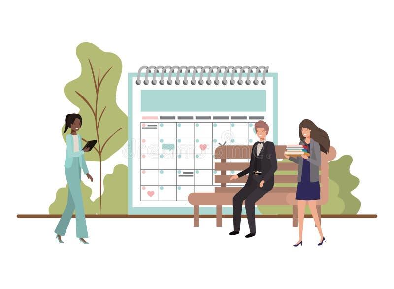 Negocio del grupo de personas con recordatorio del calendario ilustración del vector