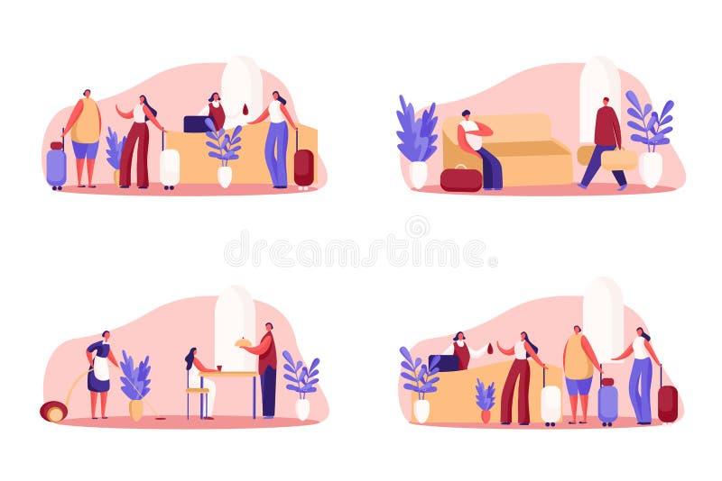 Negocio del hotel, casa de huéspedes lujosa, visitantes con el incorporar del equipaje, cola en la recepción, servicio de habitac ilustración del vector