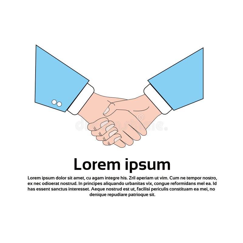 Negocio del icono del apretón de manos que sacude la bandera del concepto de las manos con el espacio de la copia ilustración del vector