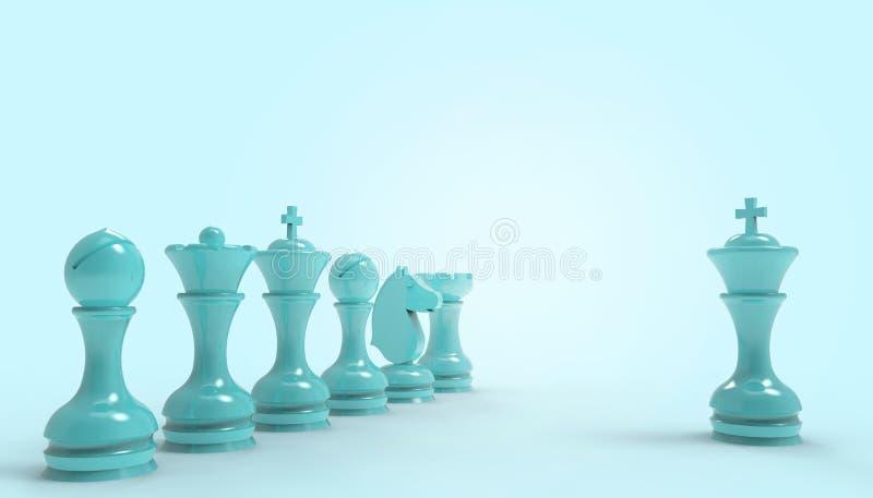 Negocio del juego de mesa del ajedrez y del concepto de las ideas de la estrategia futurista en aislado en el fondo azul en color ilustración del vector
