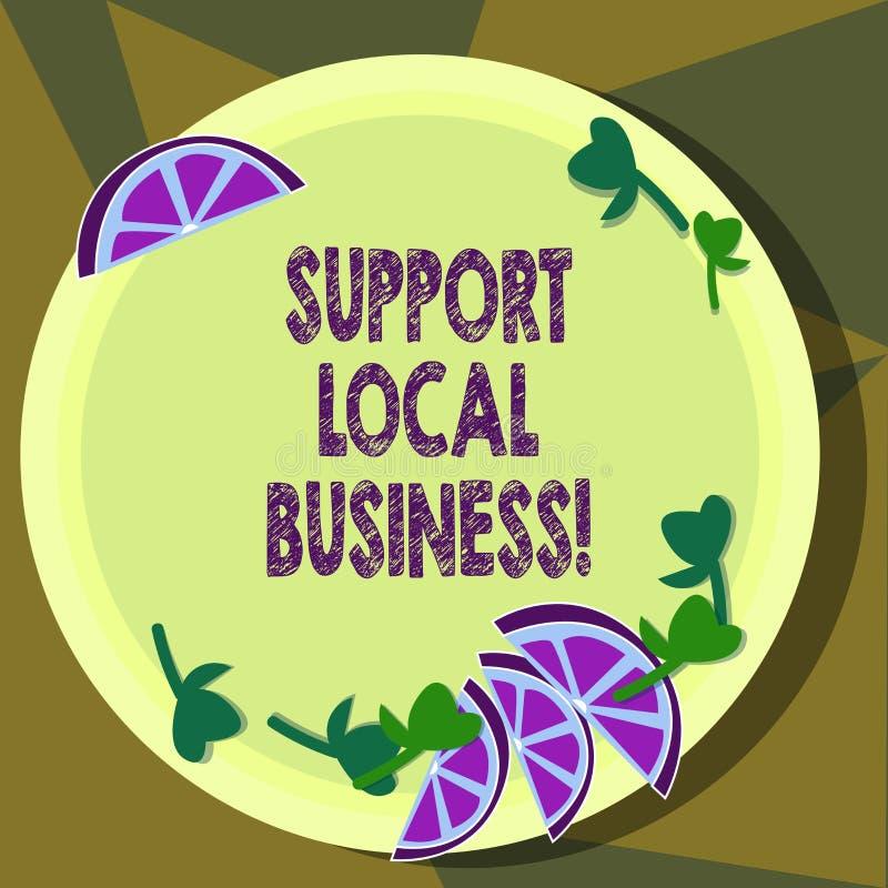 Negocio del Local de la ayuda de la demostración de la muestra del texto Compras o compra en las tiendas locales o mercado concep ilustración del vector