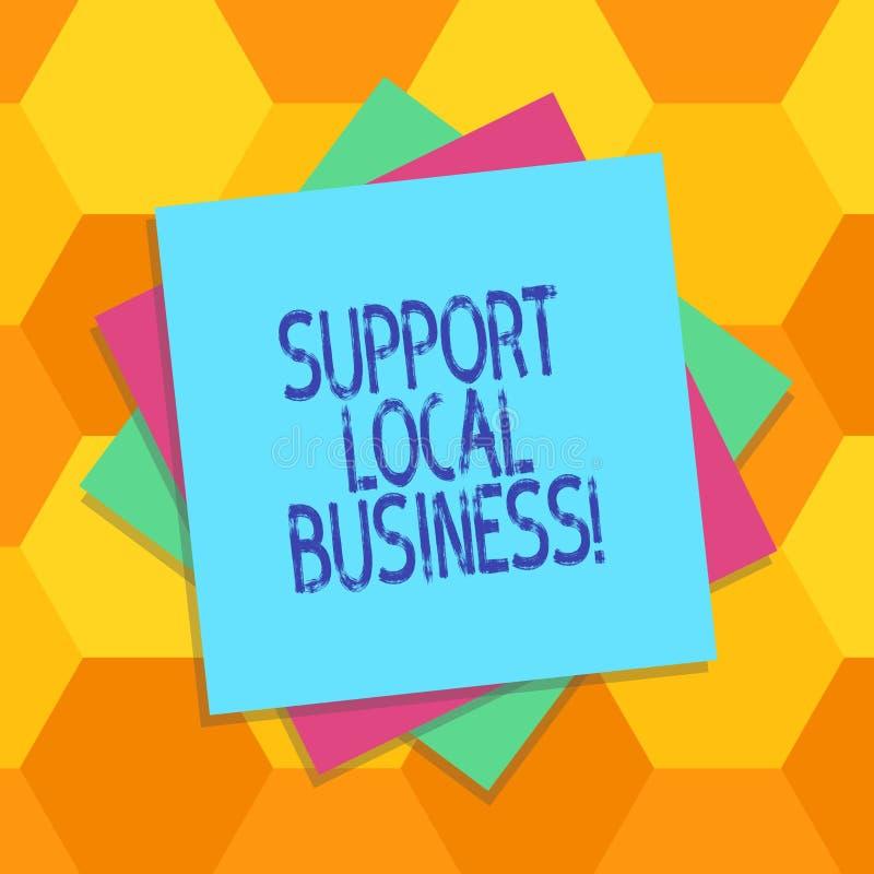 Negocio del Local de la ayuda del texto de la escritura Concepto que significa compras o la compra en las tiendas locales o merca stock de ilustración