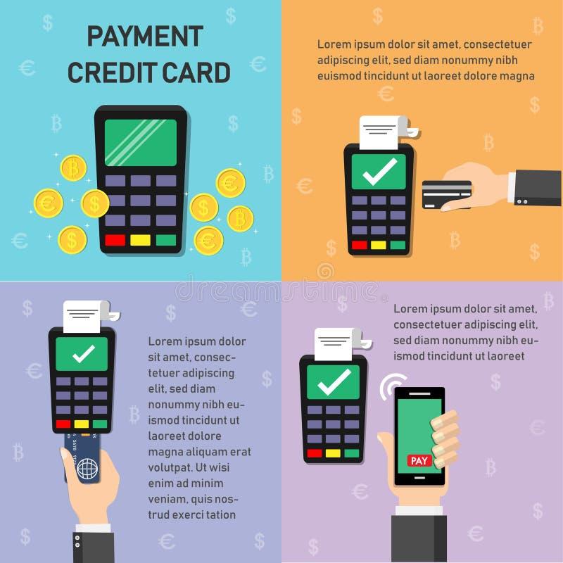 Negocio del pago y uso de los iconos de las finanzas sobre gráfico de la información ilustración del vector