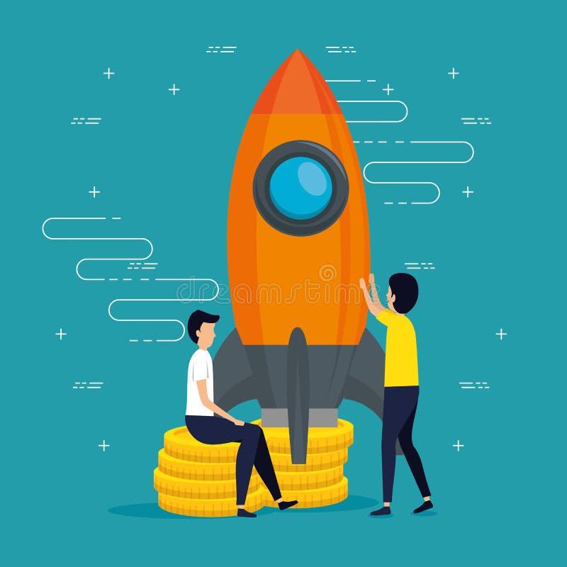 Negocio del trabajo en equipo de los hombres con el app del cohete stock de ilustración